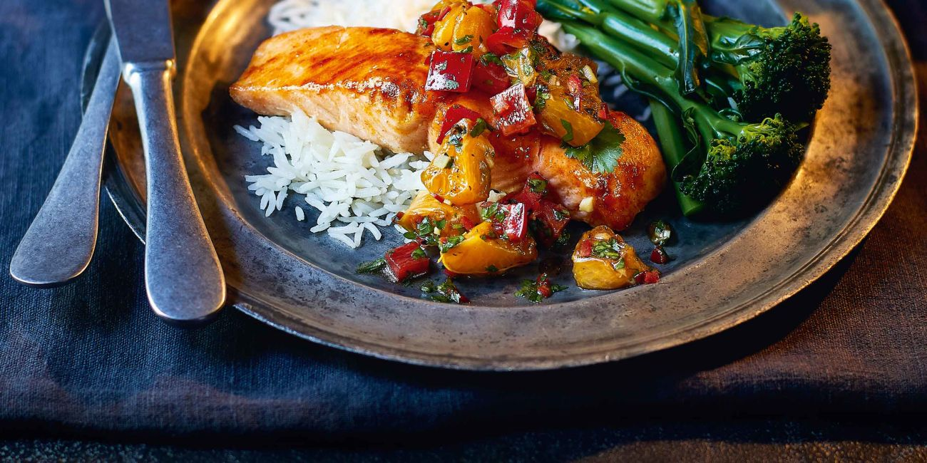 Honey-glazed salmon with charred clementine salsa