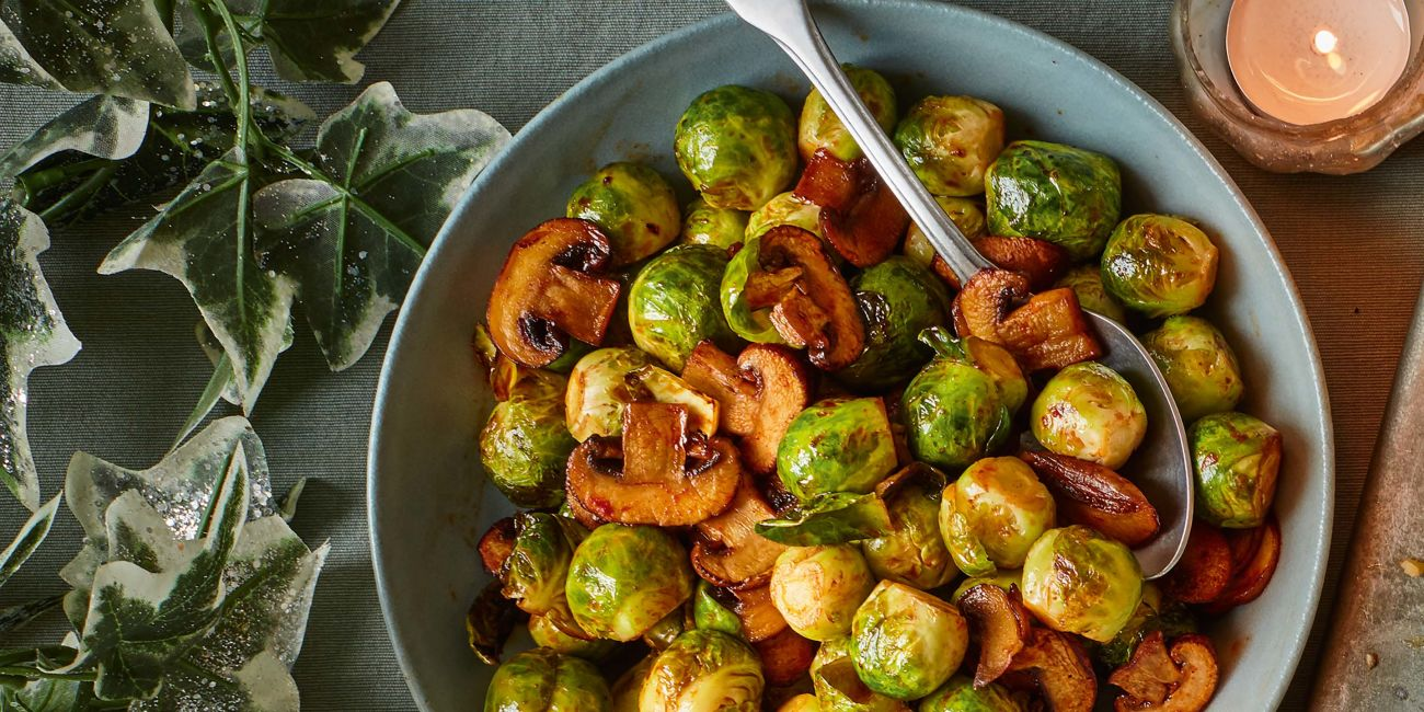 Brussels sprouts with smoky mushrooms