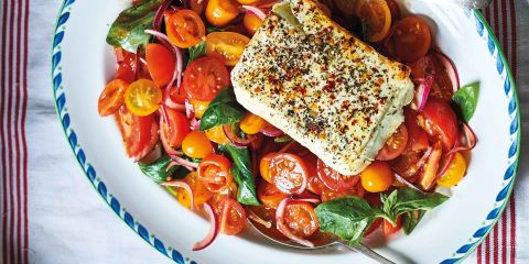 Marinated tomato salad with baked Feta and mint