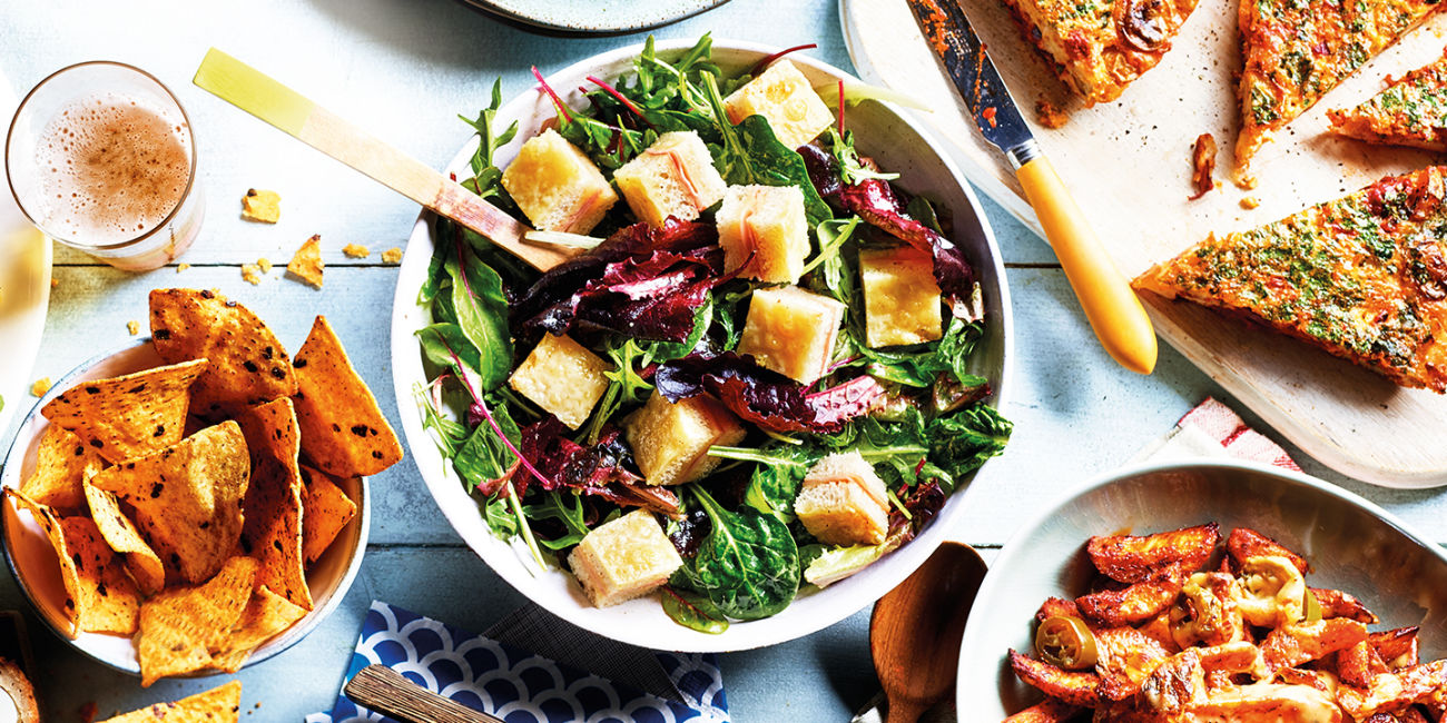 Green salad with croque monsieur croutons