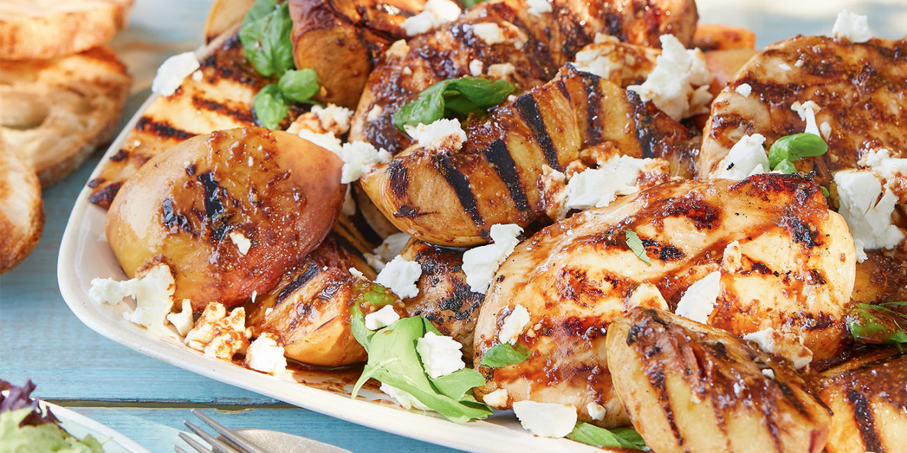Griddled chicken with feta and peach