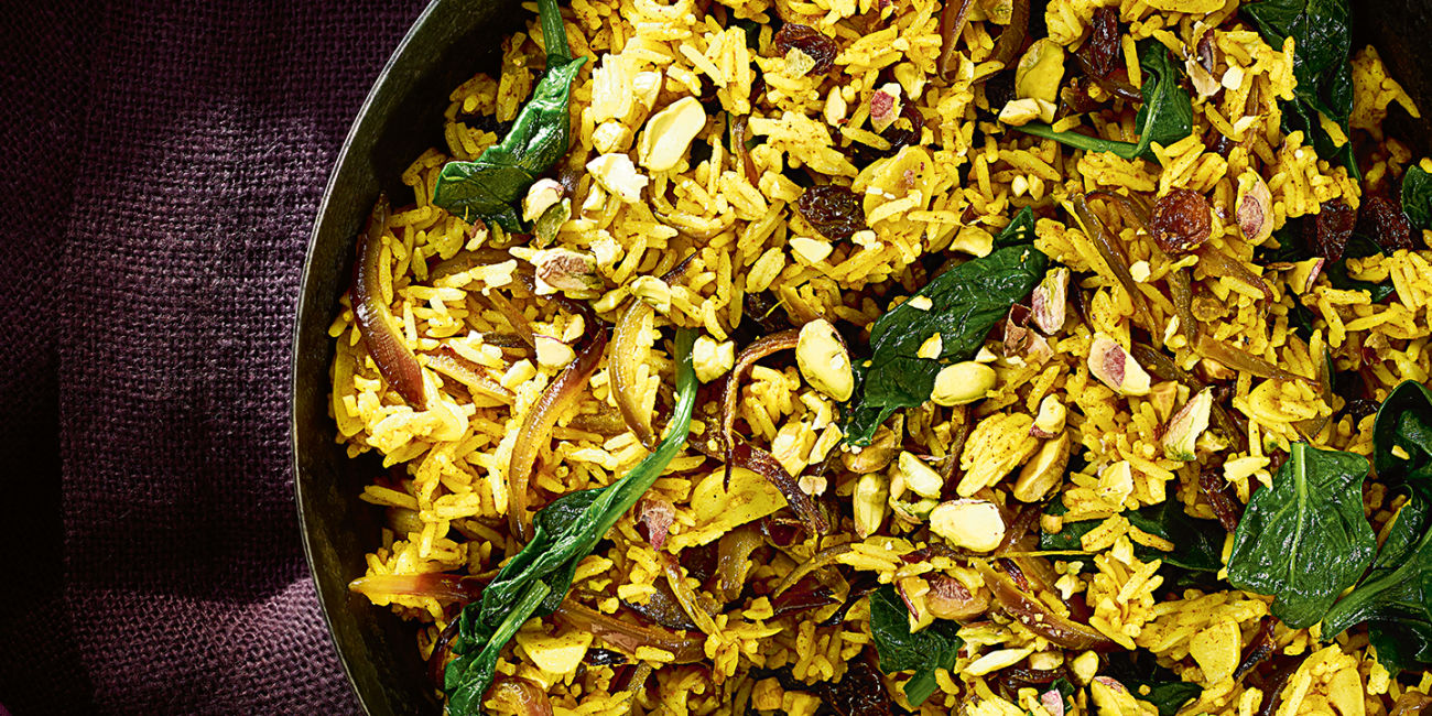 spinach and pistachio pilau recipes co op