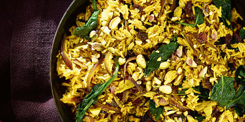Spinach and pistachio pilau