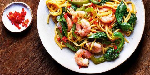 Chilli prawn and spinach stir fry