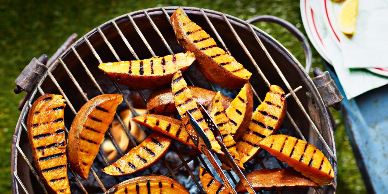 Griddled sweet potato wedges with houmous dip
