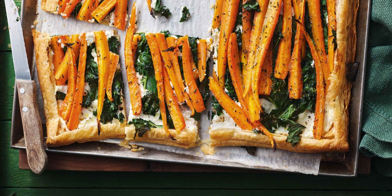 Carrot and kale tart with lemon Feta