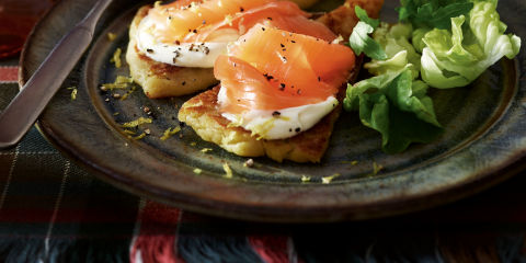 Tattie scone with Scottish smoked salmon