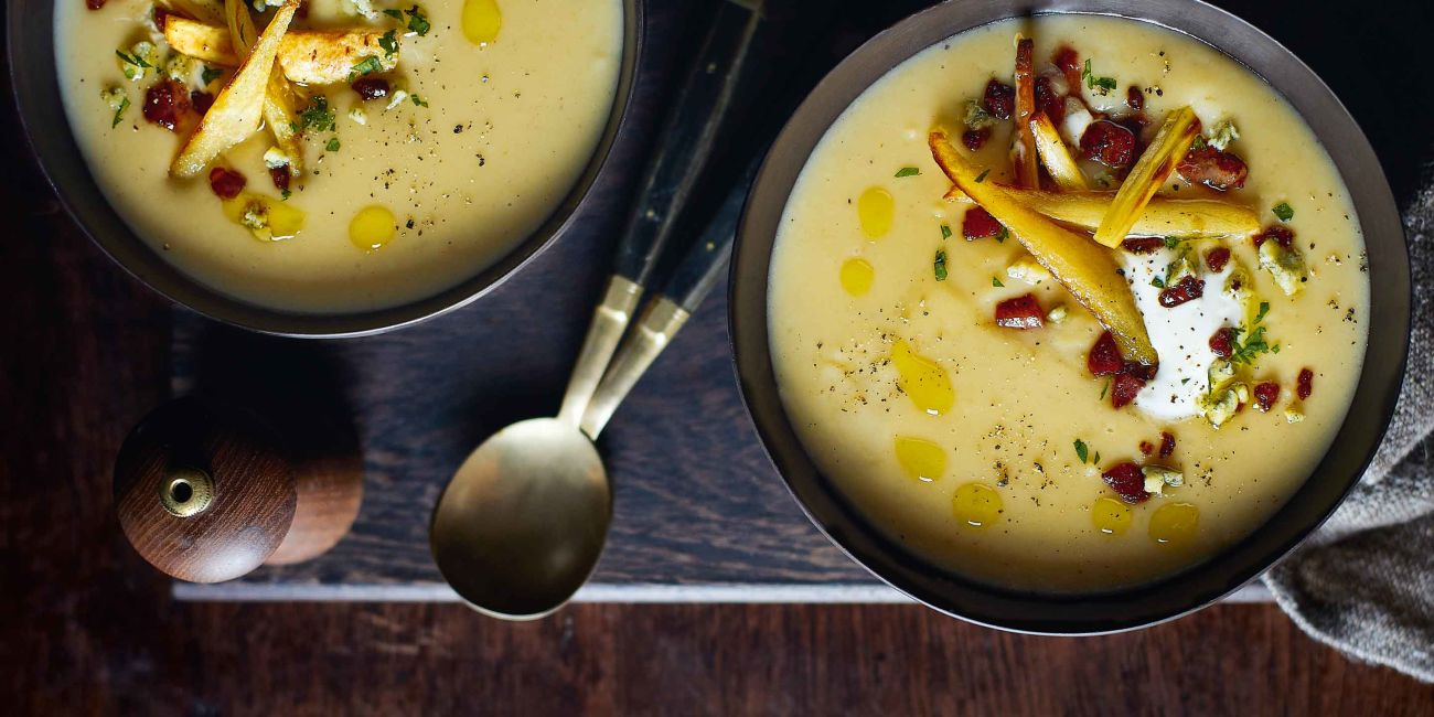 Roasted parsnip and pear soup with Stilton