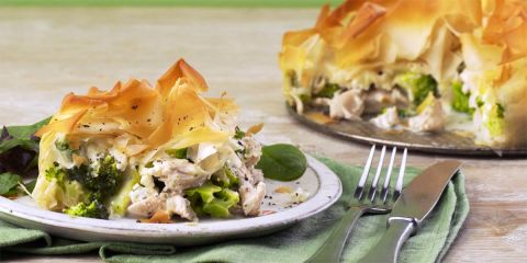 Creamy chicken and broccoli filo pie