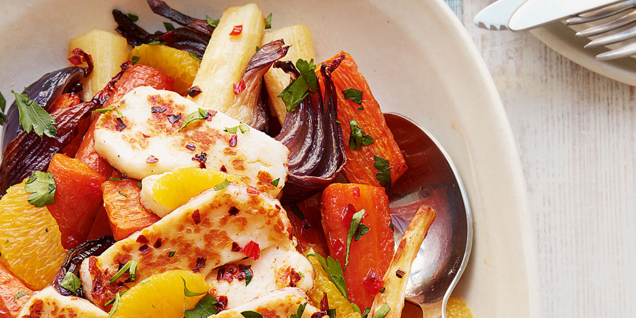 Roasted veg and halloumi salad