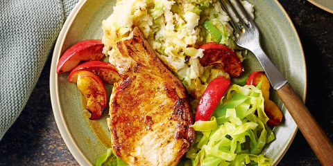 Pork steaks with cheesy mash