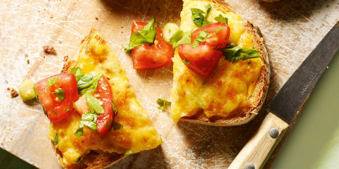Mexican rarebit with tomato salad