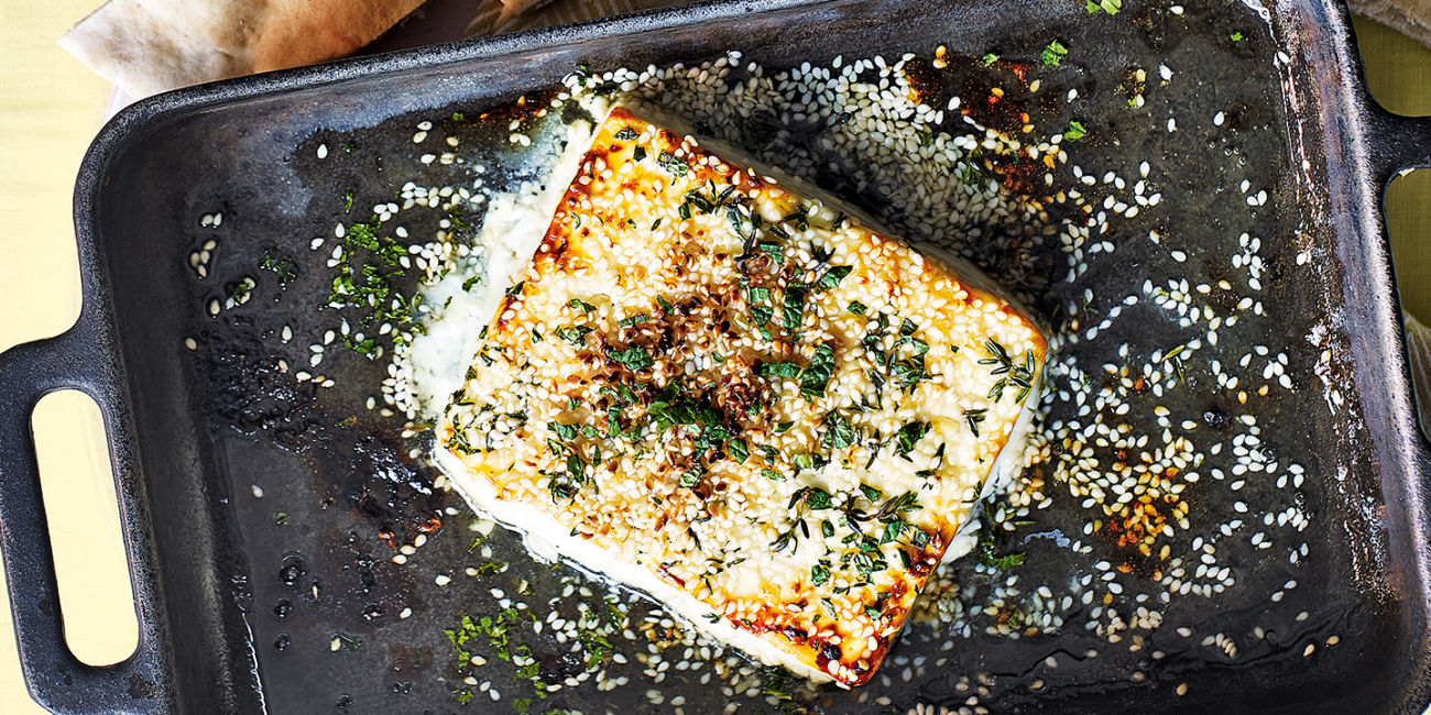 Grilled feta with honey and thyme