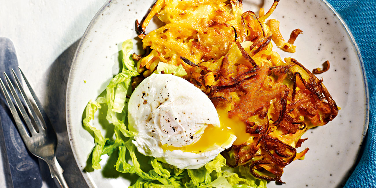 Carrot fritters with poached eggs