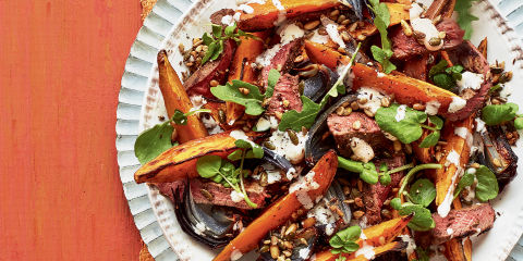 Roasted sweet potato and spiced steak salad