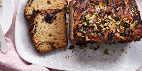 Blueberry, white chocolate and pistachio babka