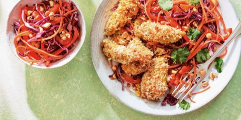 Coconut chicken with peanut slaw
