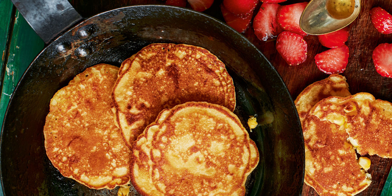 Sweetcorn and ricotta pancakes