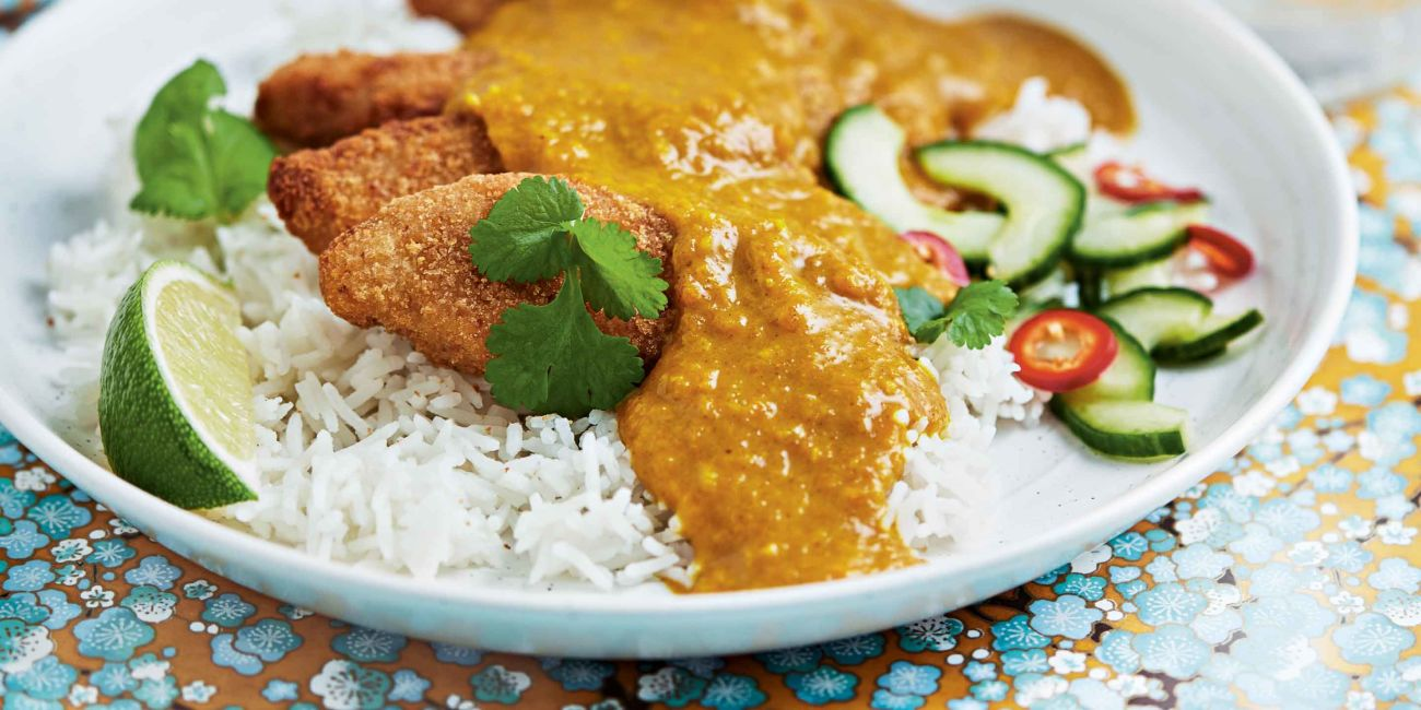 Chicken katsu curry with pickled cucumber