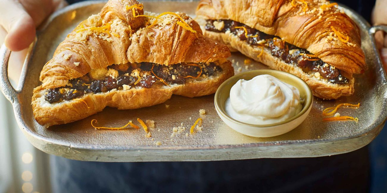 Mince pie-stuffed croissants with brandy mascarpone