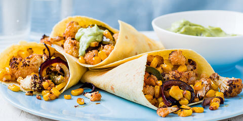 Spicy cauli and corn wraps