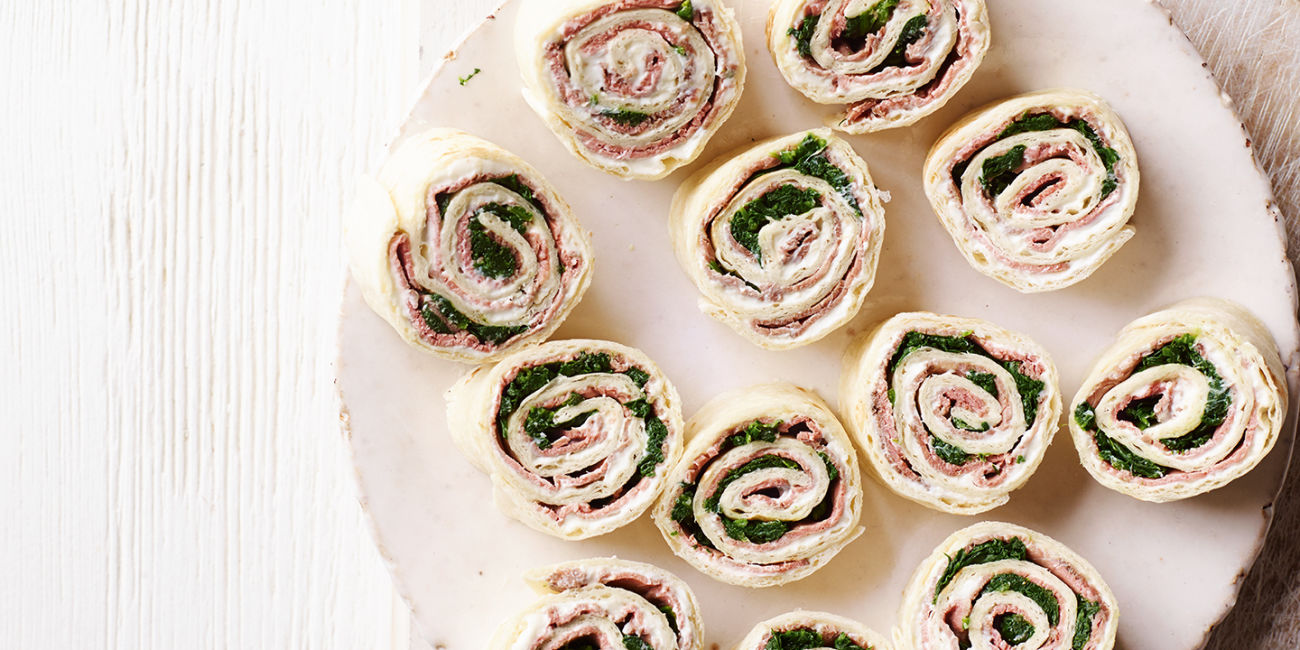 Beef, horseradish and spinach rolls
