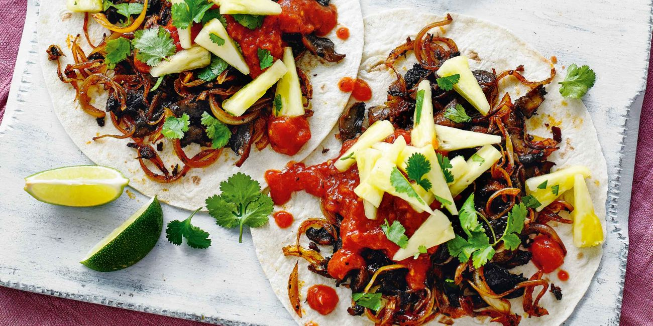 Pulled mushroom tacos with smoky tomato salsa