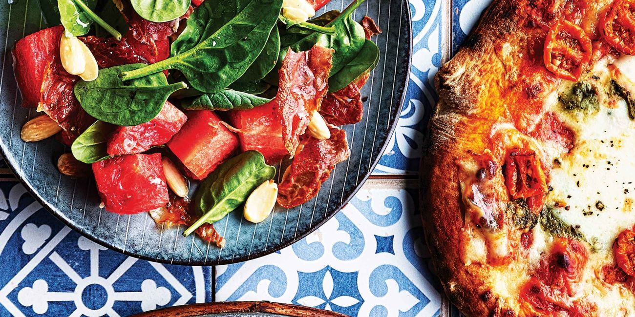 Watermelon, spinach and prosciutto salad