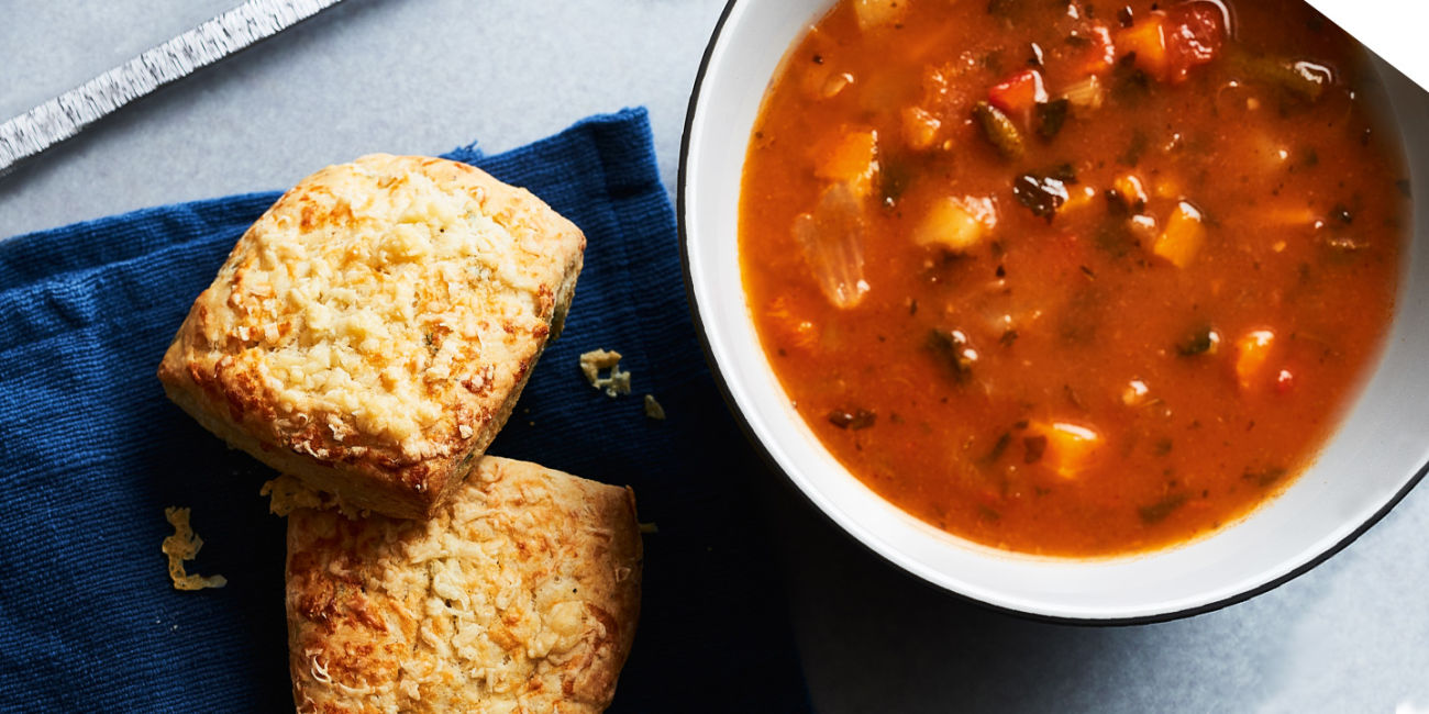 Soup with savoury scones