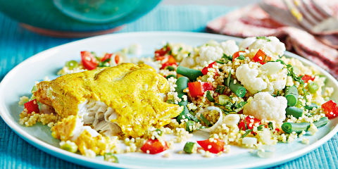 Tandoori fish with spicy cous cous