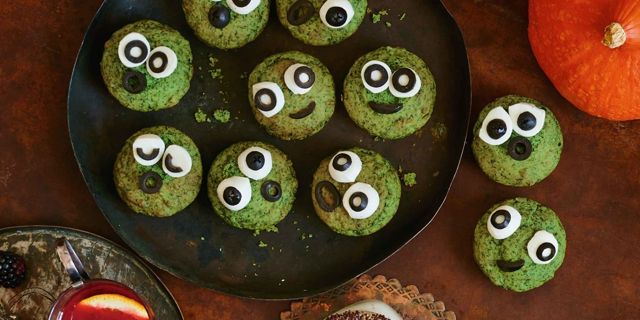 Spooky spinach muffins
