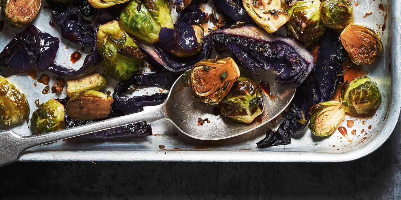 Roasted Brussels with sticky maple glaze