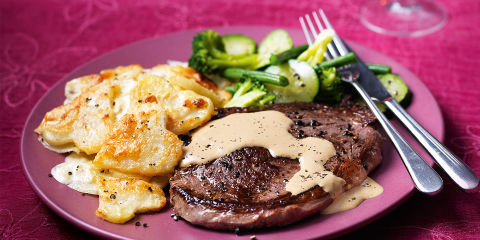 Steak with dauphinoise potatoes