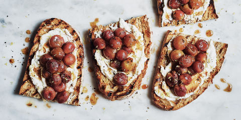 Ricotta and roasted grapes on sourdough