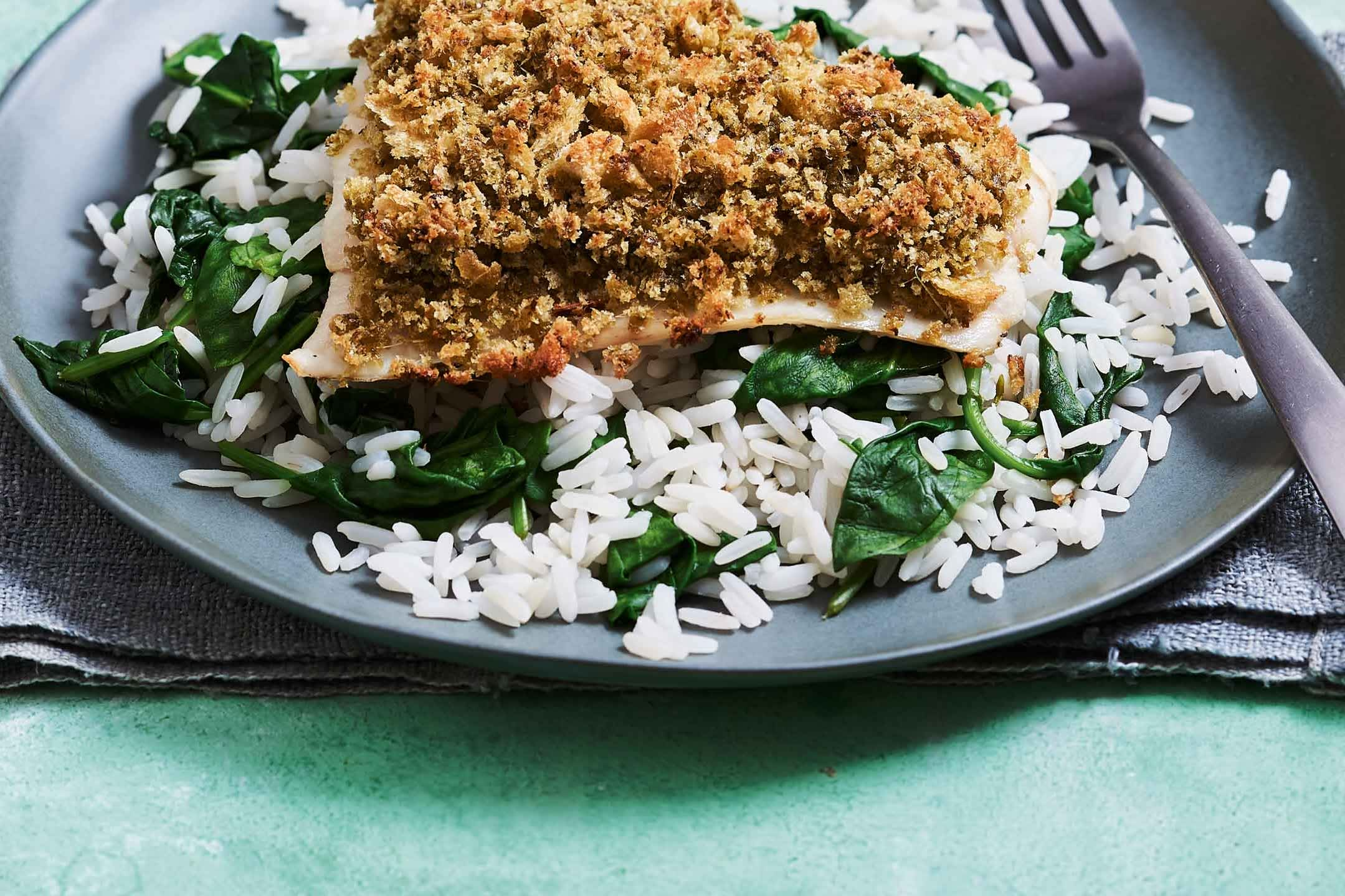 pesto-crumbed-fish-with-spinach-rice