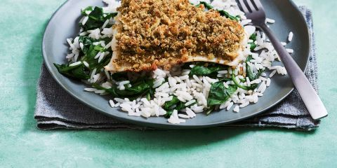Pesto crumbed fish with spinach rice