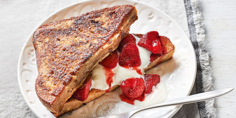 Roasted strawberry french toast