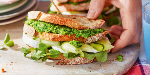 Pea and goat's cheese club sandwiches