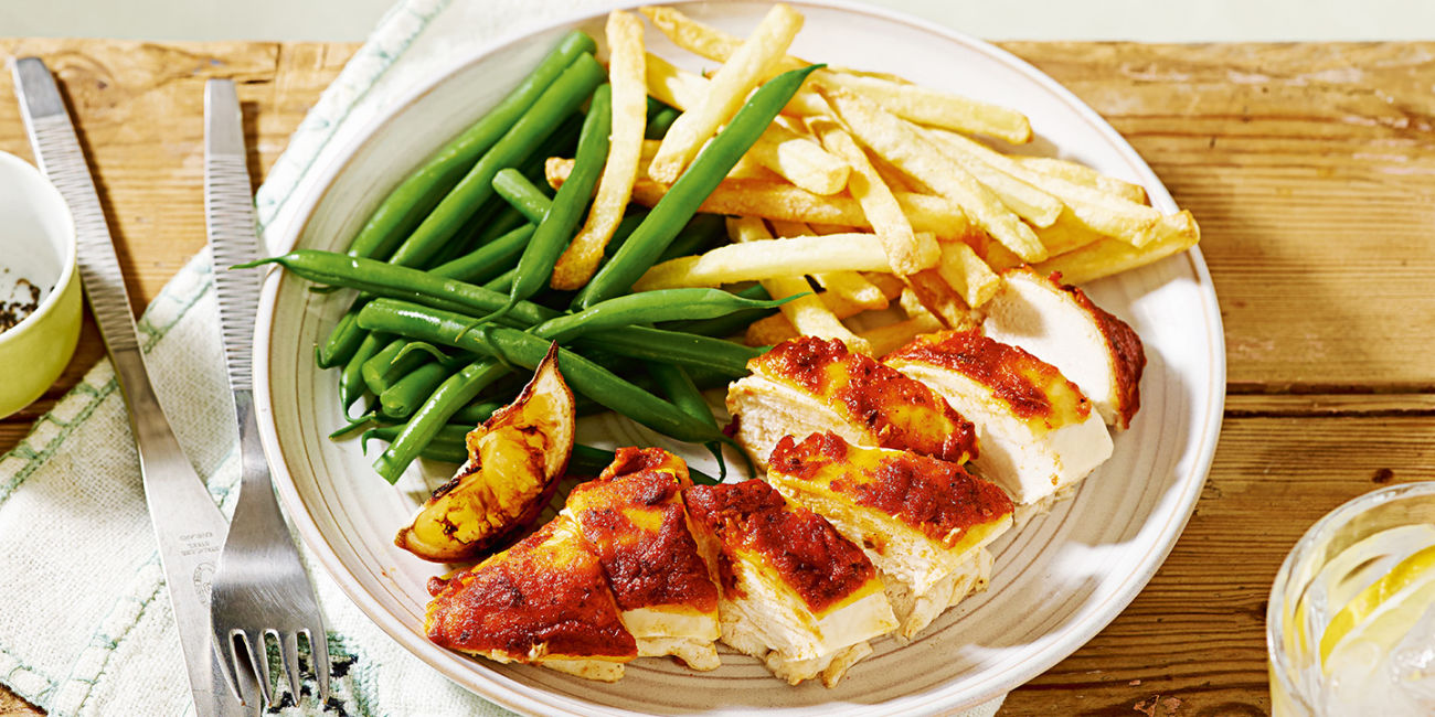 Tikka roast chicken and chips