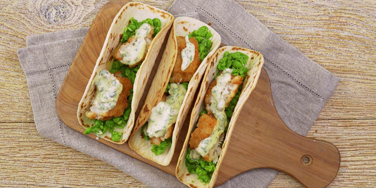 Fish finger tacos with tartar sauce