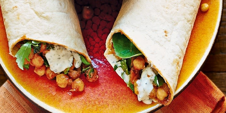 Indian chickpea wraps with minty yogurt