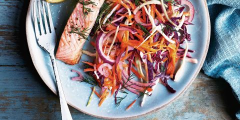 Baked salmon with winter slaw