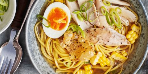 Roast chicken ramen with crispy skin