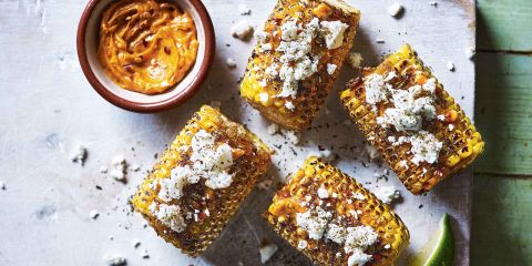 Smoky griddled corn with Feta and mint