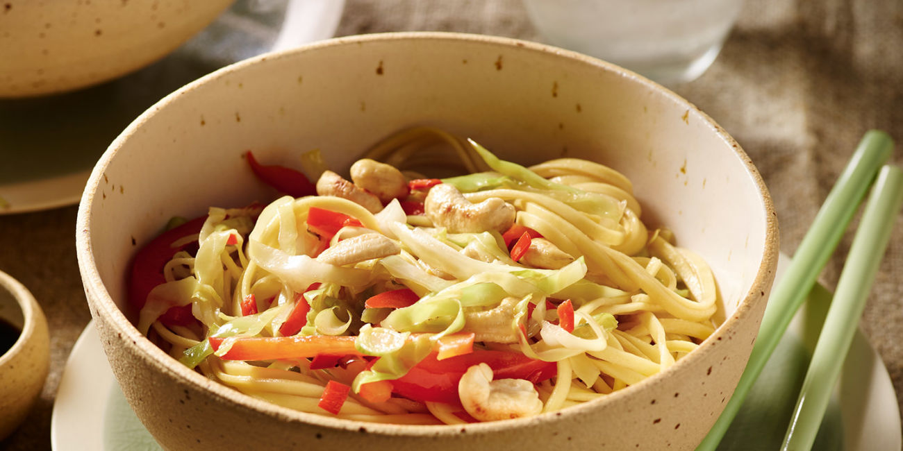 Cabbage and noodle stir fry