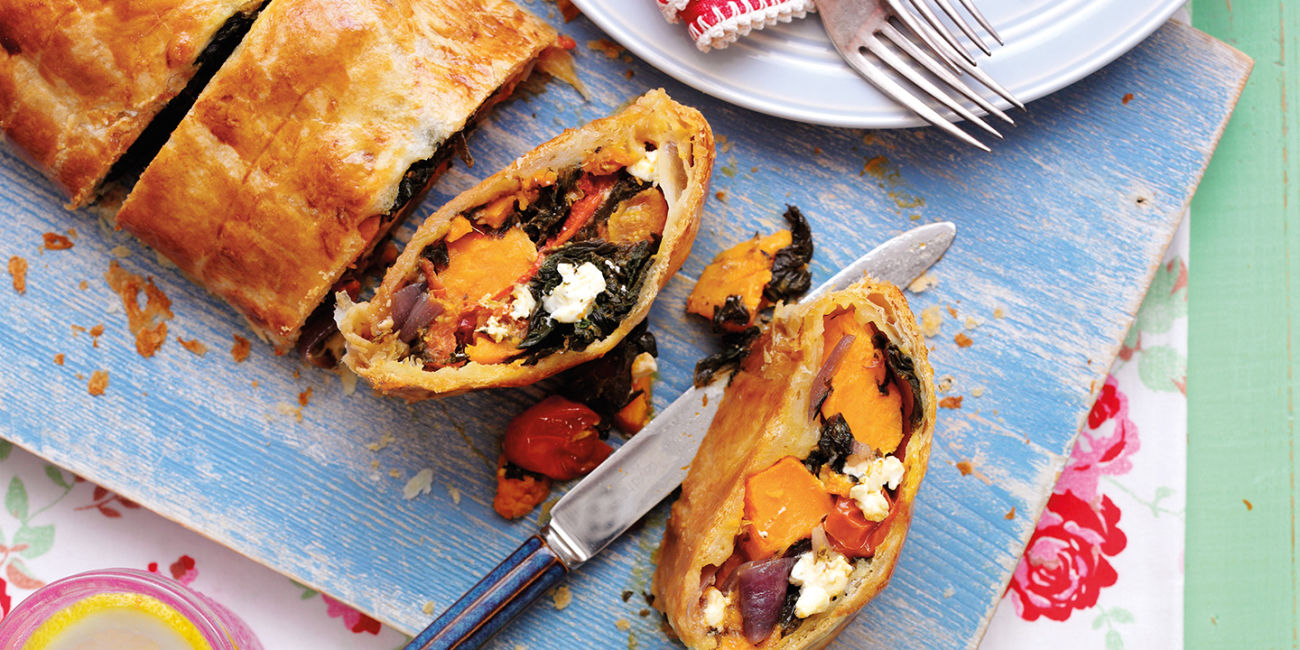 Roasted vegetables en croute