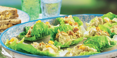 Coronation chicken lettuce cups