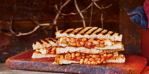 Three cheese and bean toasties