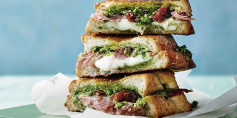 Prosciutto and mozzarella toasted sandwich with spring green pesto