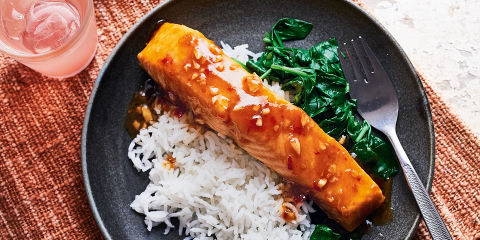 Soy glazed salmon with coconut rice